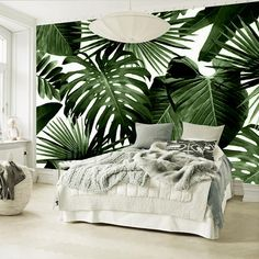 nature inspired Tropical Feelings Wallpaper Beautiful unique Wall Decor Forest Homes Natural Decor Nature inspired Design home decor Estilo Tropical, Tropical Wall Decor, Unique Wall Decor, Tropical Interior, Tropical Furniture, Tropical Design, Tropical Style, Tropical Paradise, Master Bedroom Interior