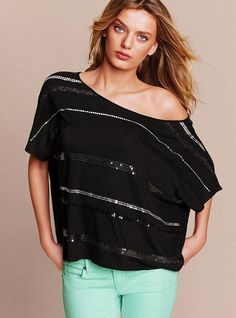 @Victoria Brown's Secret  Black Sequin Off the Shoulder High Low Tee. Under $15!! #black, #women, #tee, #shirt, #clothes, #clothing, #fashion, #comfy, #dressy, #casual, #sequin, #silver, #sale, #deal, #bargain. http://zodiacfashion.blogspot.com/