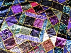 Victorian Antique Crazy Quilting | Antique Hand Made Victorian Peacock Purple Green Silks Crazy Patch ...