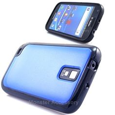 Click Image to Browse: $6.95 Blue Black Softgrip Hard Case Gel Cover For Samsung Galaxy S2 (Hercules T989) T-Mobile