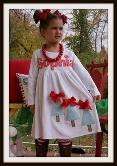 Country Christmas Tree Dress, LAST ONE, Fabric Tree Applique Dress with Name for Girls, Applique Christmas Tree Dress for Toddler Girls Christmas Tree Dress, Christmas Trees For Kids, Christmas Shirts, Christmas Outfits, Christmas Applique, Special Girl, Tunic Tops, Trending Outfits, Crafty