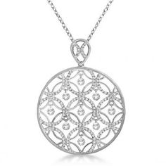 Drilled Set Diamond Circle Pendant Necklace White Gold (I want this! Circle Pendant Necklace, Pendant Set, Pendant Jewelry, Filigree Jewelry, Gothic Jewelry, Gold Pendant, Gold Jewellery, Jewelry Necklaces, White Gold Jewelry