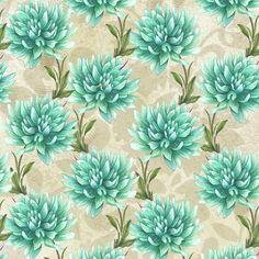 Turquoise Dahlia Pattern 2 By Elena Vladykina Teal Flowers, Vintage Flowers, Flower Images, Flower Art, Scrapbook Paper, Scrapbooking, Watercolor Wallpaper, Flower Backgrounds, Paper Background