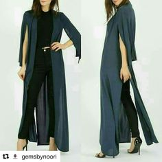 #Repost @gemsbynoori with @repostapp  Misba Celebrity Inspired Cape Maxi Duster Jacket  Price: 22 Delivery: 1-3 days Colours: Black Navy Rose Gold Shop: www.gemsbynoori.com Search: MISBA Sizes: 8 10 12 14 16  Slinky silk lightweight maxi duster jacket Approximate length: 160 CM Materials: 95% polyester 5%  SUBHAN ABAYAS share it more then 1600 Abayas Designs. Follow   @SubhanAbayas @SubhanAbayas @SubhanAbayas  #SubhanAbayas #abaya #beauty #muslim #fashion #muslimfashion #picoftheday #happy…