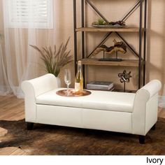 Torino Faux Leather Armed Storage Ottoman Bench by Christopher Knight Home (Ivory), Beige Off-White