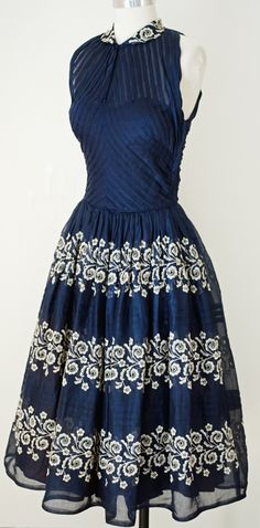 1950's Navy Dress with White Floral Embroidery