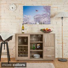 Furniture of America Julienne Modern Sliding Door Wine Bar Dining Server