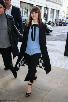 Sophisticated dressed: Earlier that day, Felicity promoted the film at BBC Radio 1
