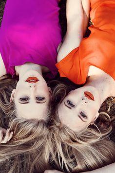 hot fuschia and orange + red orange lips
