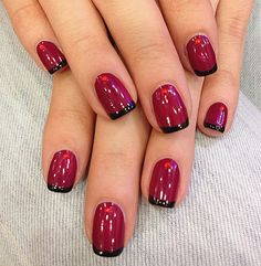 Red wine nail polish with a black french manicure and rhinestones, natural nails, nail art at home