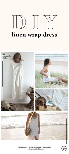 DIY Linen Wrap Dress Tutorial - The Essentials Club. Make this minimal, luxe, summer essential wrap dress by following these easy steps. Dress Tutorials, Fabric Crafts, Wrap Dress, Knit Crochet, Clothes Crafts, Tricot Crochet, Wrap Around Dress