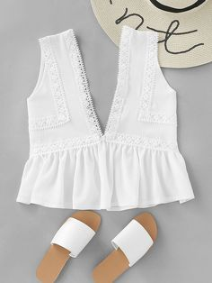 Shop Plunging V-neckline Lace Trim Frill Hem Top online. SheIn offers Plunging V-neckline Lace Trim Frill Hem Top & more to fit your fashionable needs.
