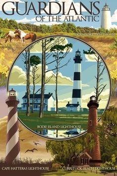 Guardians of the Atlantic Lighthouses - Outer Banks, North Carolina - Lantern Press Poster