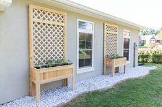 DIY raised planters with trellis - easy Planter Box With Trellis, Raised Planter Boxes, Large Planters, Diy Planters, Outdoor Spaces, Outdoor Living, The Woodhouse, Cedar Fence Pickets, Make Build