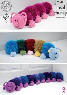 King Cole Tinsel Chunky Knitting Pattern for Caterpillar Toy Doorstop Draught Excluder - I Crochet World Chunky Knitting Patterns, Crochet Patterns, Free Knitting, Free Crochet, Baking Beads, Diy Pompon, Pom Pom Animals, Pom Pom Crafts, King Cole