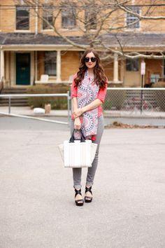 Neon Coral Blouse, Colorblock Pour La Victoire Bag and Jessica Simpson Black Cross Strap Wedge Sandals