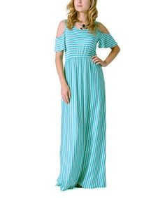 This 42POPS Mint & White Stripe Cutout Maxi Dress by 42POPS is perfect! #zulilyfinds