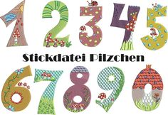 Stickdatei+0-9+Pilzchen+Zahlen+10+x+10+cm+Rahmen+von+Zauberstiche+auf+DaWanda.com