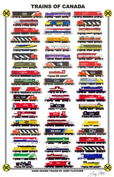 Trains of Canada 11 Railroad Poster by Andy Fletcher signed Canadian National Railway, Canadian Pacific Railway, Diesel Locomotive, Steam Locomotive, Gi Joe, Train Drawing, Railroad Companies, Train Posters, Standard Gauge