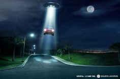 UFO abduction of human and car