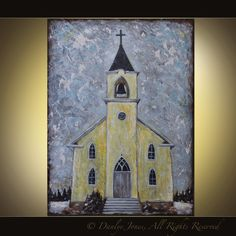 Yellow Church Painting on canvas 30x40 by DanlyesPaintings on Etsy, $399.00