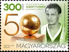 Stamp: Anniversary of Florian Albert's Ballon D'Or (Hungary) Mi:HU 50 Years Ago, Vintage Stamps, Budapest Hungary, 50th Anniversary, Homeland, Florida, Sport, Cards, Ballon D'or