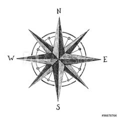 hand drawn wind rose - Buy this stock vector and explore similar vectors at Adobe Stock Compass Tattoo, Compass Art, Compass Design, Compass Rose, Barn Quilt Designs, Quilting Designs, Sacred Geometry Symbols, Wind Rose, Mariners Compass