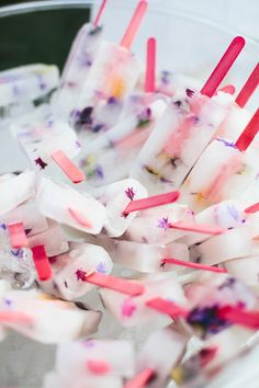floral popsicles - photo by Love Katie and Sarah http://ruffledblog.com/modern-summer-wedding-in-the-yarra-valley #weddingideas #desserts