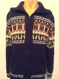 Vtg Mens COWICHAN 100% Acrylic BIG LEBOWSKI Zip Up Cardigan Sweater Jumper M L