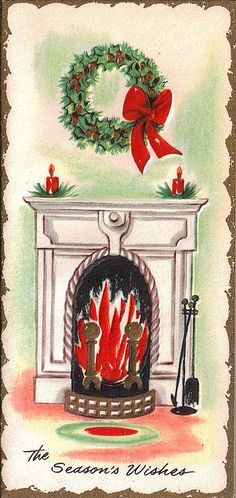 Love the braided rug at this Christmas fireside.