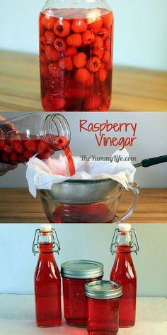 Easy 2-Ingredient Raspberry Vinegar.  Fill a jar with raspberries and vinegar, and in 2 weeks it's ready for cooking or gifting.   TheYummyLife.com
