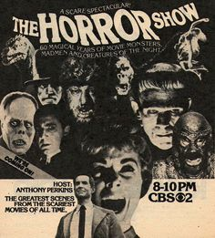 I write horror. I love horror, movies, comics and novels. I mainly write comics but also films, novels and video-games. Classic Monster Movies, Classic Horror Movies, Classic Monsters, Vintage Horror, Vintage Tv, Vintage Hollywood, Sci Fi Movies, Scary Movies, Anthony Perkins