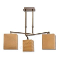 Lámpara moderna 3 pantallas cuadradas lineas cuero