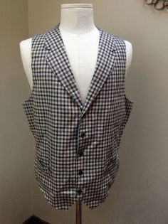 Preppy Linen Blue Plaid Chambray Brooks Brothers Madison Suit Vest Waistcoat 44L #BrooksBrothers