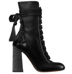 Chloé bottines laçées en cuir noir