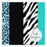 Anniversary - Animal Print Zebra Leopard - Blue Card