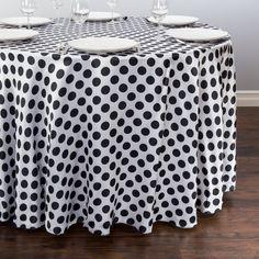108 in. Round Polka Dot Satin Tablecloth White / Black