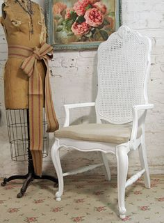 Vintage Painted Cottage Chic Shabby White Mesh Dining Chair