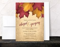 Burgundy Gold Autumn Wedding Invitations and RSVP - Rustic Fall Burgundy Red Orange Yellow Gold - Printed Invitations by ArtisticallyInvited on Etsy https://www.etsy.com/listing/277095496/burgundy-gold-autumn-wedding-invitations