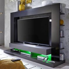 Stamford Entertainment Unit In Black Gloss Fronts With Shelving_4