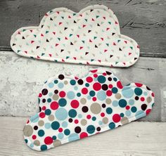 Cloud Coasters - Fabric Coasters - Set of 2 - Raspberry & Blue Coasters