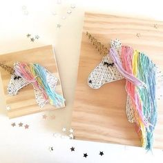 Unicorn string and nail art - string art ideas - wall decor - DIY decor String Art Diy, String Crafts, String Art Heart, Crafts To Do, Arts And Crafts, Unicorn Rooms, String Art Patterns, Unicorn Crafts, Unicorn Diys