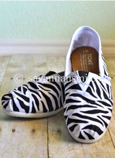 Zebra Painting for your TOMS Shoes by SavannahSmiled on Etsy