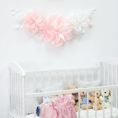 White and pink paper flowers for nursery wall decor - Nursery paper flowers - Girl room paper flowers - Over the Crib Paper Flower Set Dining Room Wall Decor, Nursery Wall Decor, Baby Room Decor, White Angel Wings, Angel Wings Wall Decor, Wing Wall, Letter Wall Decor, Floral Printables, Wall Decor Pictures