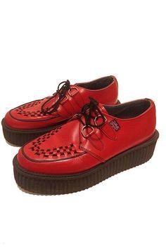 TUK red leather Punk Grunge Rockabilly Platform Shoes Creeper Size Womens 8-8.5 #TUK #Oxfords #Clubwear