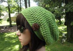 Crochet Hat Pattern - Woman's Slouchy Hat - Unisex Slouchy Beanie Pattern, #203