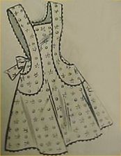 SALE Vintage Bib Full Size Apron Pattern Classic 40s Details Sewing Fabric