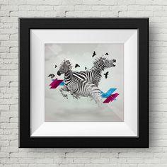 Ilustracion Digital Cebras Cuadro Decoracion por GraphicHomeDesign