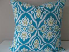 Your place to buy and sell all things handmade Ikat Pillows, Modern Throw Pillows, Toss Pillows, Accent Pillows, Pattern Design, Print Design, Peacock Blue, Blue Ivory, Decorative Pillow Covers
