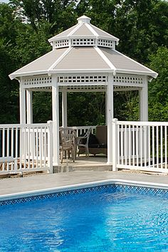 Enhance the look of your outdoor living space with our Vinyl Gazebo. Available in two sizes and in various colors, our Vinyl Gazebo will add timeless Victorian architecture to your home. Gazebo Pergola, Garden Gazebo, Gazebo Ideas, Garden Paths, Outdoor Rooms, Outdoor Gardens, Outdoor Living, Porches, Gazebos